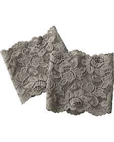 Shyanne Women's Grey Lace Stretch Boot Cuffs