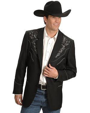 Scully Grey Floral Embroidery Black Western Jacket