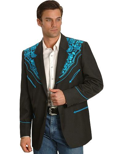 Scully Turquoise-hued Floral Embroidered Black Western Jacket Western & Country P-806 TURQ