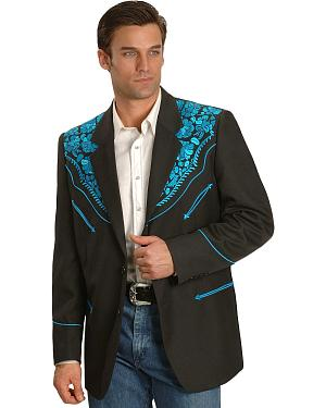 Scully Turquoise-hued Floral Embroidered Black Western Jacket