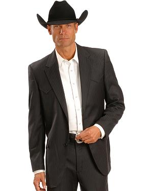Circle S Black Lubbock Pinstripe Suit Jacket - Reg & Tall