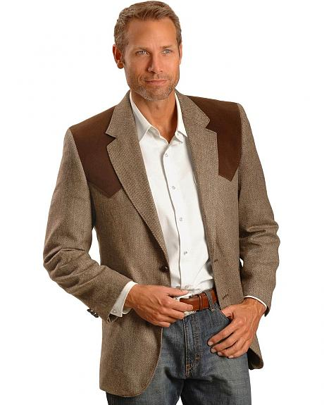Circle S Faux Sueded Yoke Brown Western Sport Coat