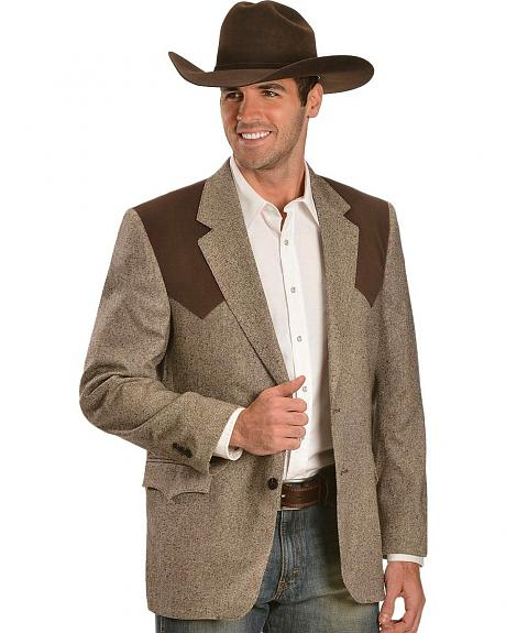 Circle S Brown Tweed with Suede Sport Coat - Reg & Tall