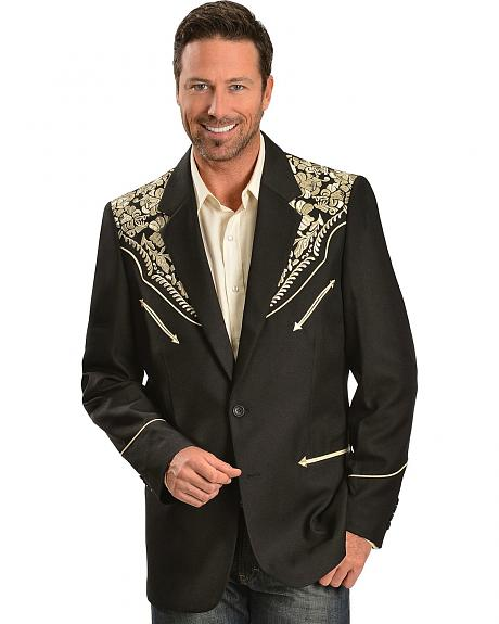 Scully Gold Floral Embroidered Black Western Jacket
