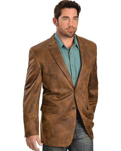 Vintage Leather Mens Distressed Faux Leather Blazer Western & Country 38865