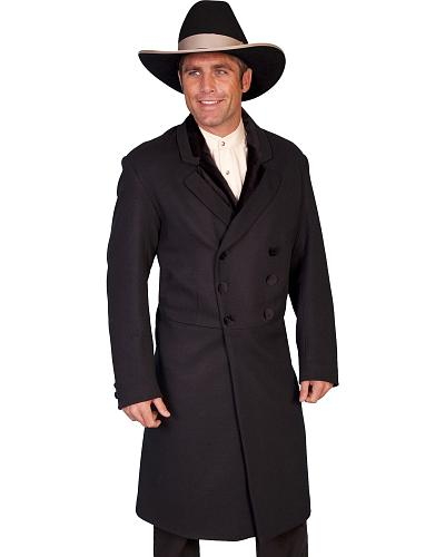 WahMaker by Scully Double-Breasted Wool Frock Coat Big & Tall Western & Country 511019X BLACK