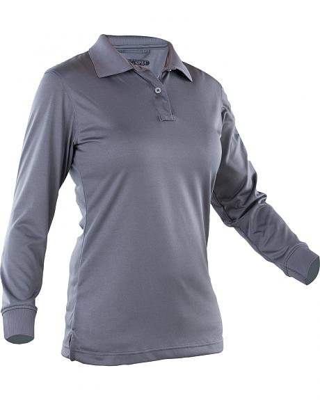 Tru-Spec Women's Dark Grey 24-7 Performance Long Sleeve Polo