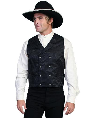 Wahmaker by Scully Floral Silk Double Breasted Vest - Big  Tall $85.00 AT vintagedancer.com