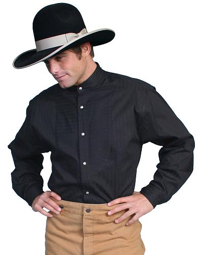 Wahmaker by Scully Tone on Tone Dobby Stripe Long Sleeve Shirt $85.00 AT vintagedancer.com