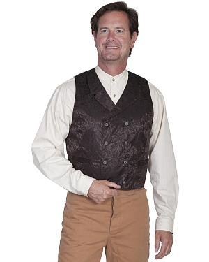 Wahmaker by Scully Floral Silk Double Breasted Vest - Big  Tall $90.99 AT vintagedancer.com