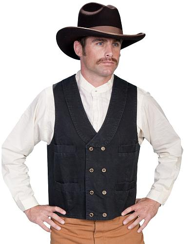 Rangewear by Scully Cotton Canvas Double Breasted Vest $44.00 AT vintagedancer.com