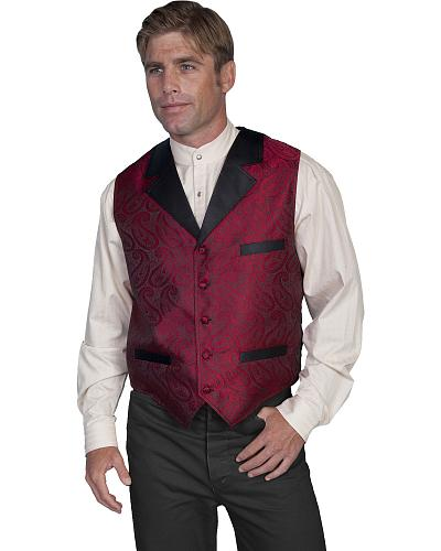Rangewear by Scully Paisley Print Solid Lapel Vest $55.99 AT vintagedancer.com
