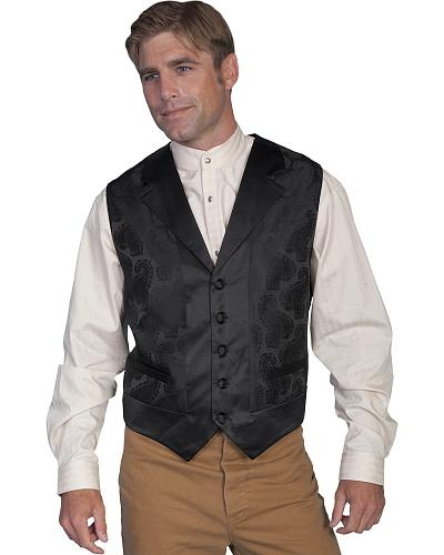 Rangewear by Scully Black Paisley Vest - Big and Tall $56.99 AT vintagedancer.com