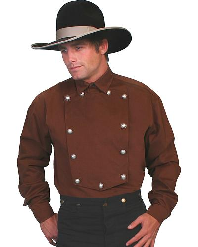 WahMaker Old West by Scully Brushed Twill Bib Shirt - Big and Tall $80.00 AT vintagedancer.com