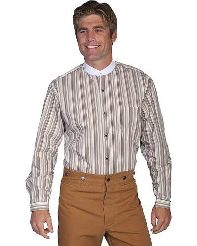 WahMaker by Scully Old West Tan Stripe Shirt $80.00 AT vintagedancer.com