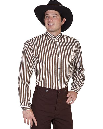 Wahmaker Old West by Scully Brown Stripe Shirt $90.99 AT vintagedancer.com