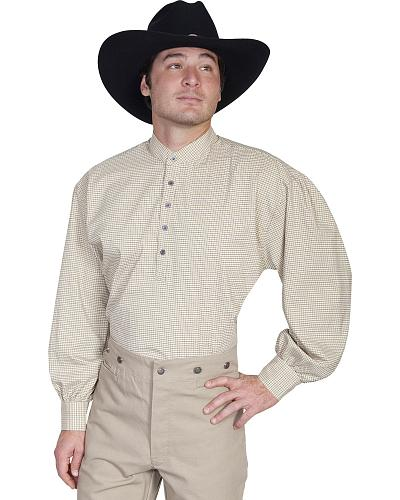 Wahmaker Old West by Scully Tan Print Shirt $79.99 AT vintagedancer.com
