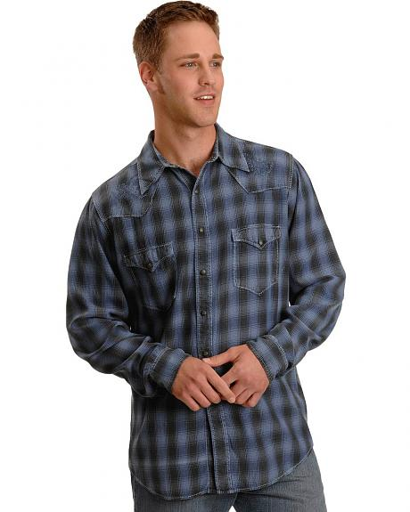 Ryan Michael Embroidered Blue Plaid Western Shirt