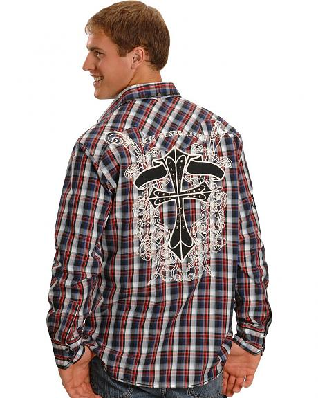Petrol Embroidered Plaid Western Cowboy Shirt
