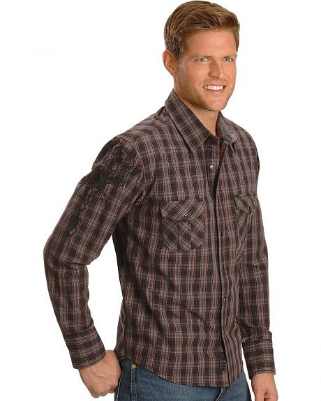 Rock & Roll Cowboy Embroidered Plaid Shirt