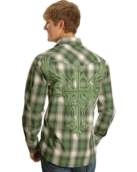 Petrol Creighton Green Plaid Western Shirt