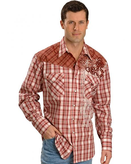 Panhandle Slim Red Plaid Embroidered Western Shirt