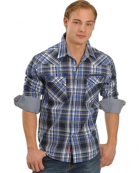 Rock & Roll Cowboy Royal Plaid Embroidered Western Shirt