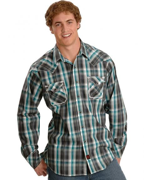 Panhandle Slim Teal Plaid Embroidery Western Shirt