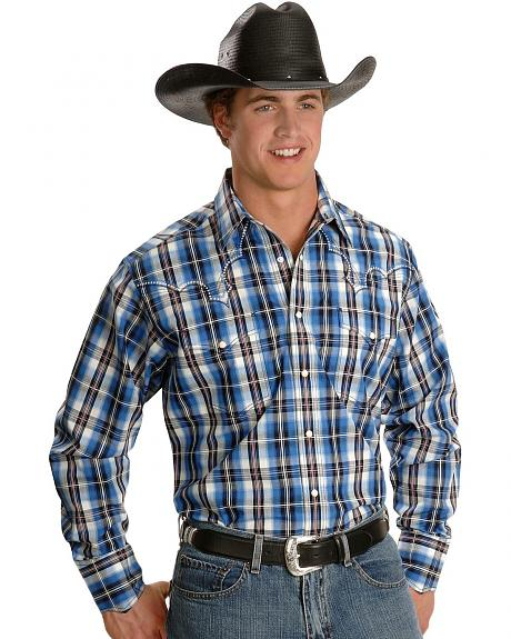Panhandle Slim Embroidered Blue Plaid Western Shirt