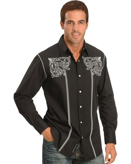 Petrol Decker Embroidered Western Shirt