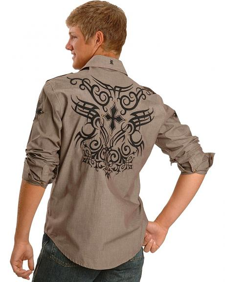 Rock & Roll Cowboy Chambray Embroidered Shirt
