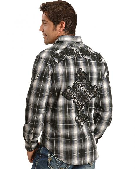 Rock & Roll Cowboy Cross Embroidery Black Plaid Western Shirt