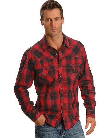 Rock & Roll Cowboy Men's Cross Applique Western Shirt