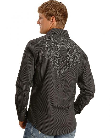 Rock & Roll Cowboy Embroidered Striped Western Shirt
