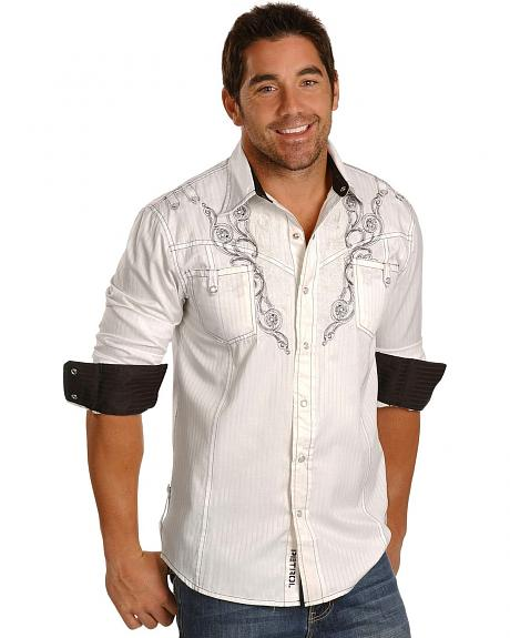 Petrol Trevor Scroll Embroidery Western Shirt