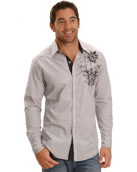 Petrol Men's Carson Embroidered Pinstripe Western Shirt