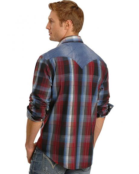 Rock & Roll Cowboy Plaid Gingham Trim Western Shirt
