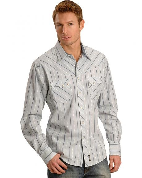 Wrangler Men's Grey Dobby Retro Western Shirt