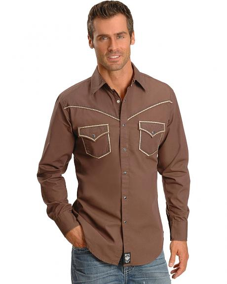 Wrangler Rock 47 Brown Embroidered Cross Western Shirt