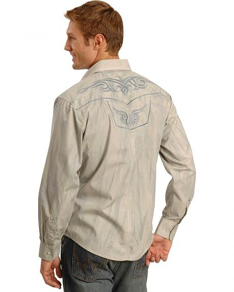 Wrangler Rock 47 Grey Wash Embroidered Western Shirt