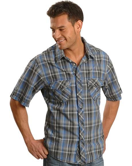 Rock & Roll Cowboy Heavy Stitch Plaid Western Shirt