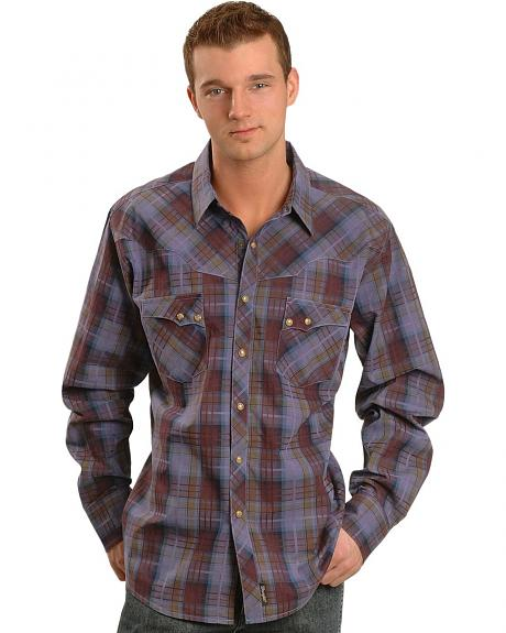 Wrangler Wine Wash Plaid Retro Western Shirt