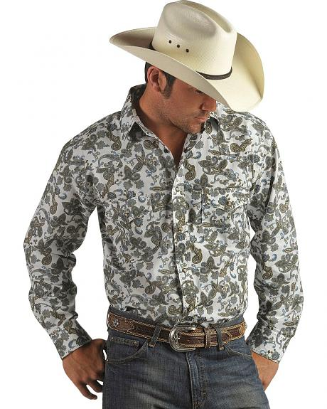 Red Ranch Paisley Print Snap Front Shirt