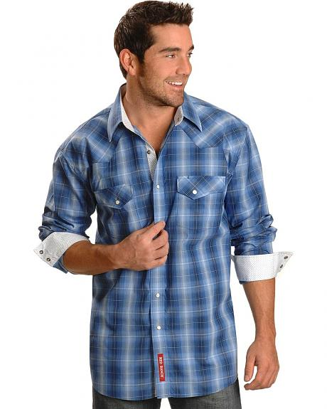 Red Ranch Blue Plaid Snap Front Western Shirt