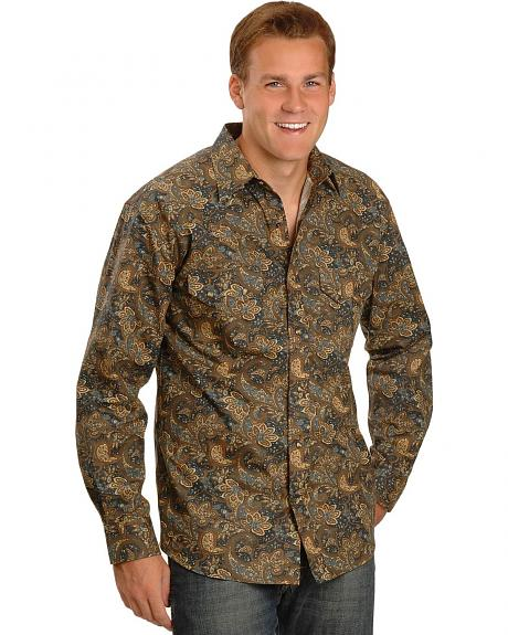 Red Ranch Brown Paisley Snap Shirt