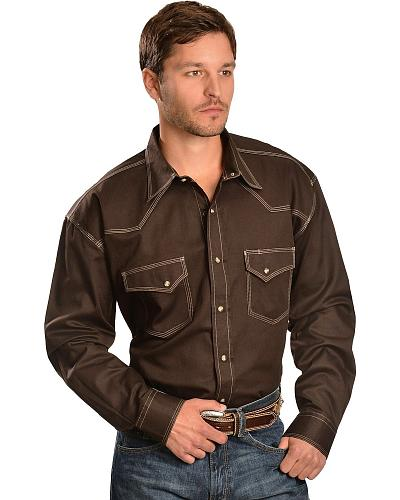 Red Ranch Topstitched Western Shirt Western & Country CCM-SLD-4008BRN