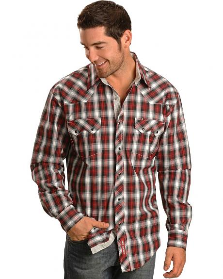 Red Ranch Red and Black Plaid Snap Front Western Shirt