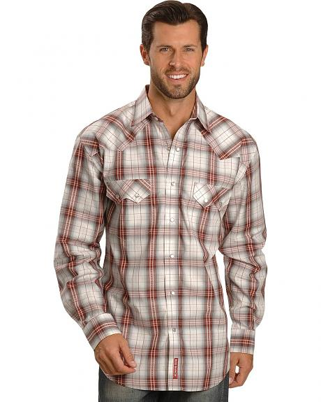 Red Ranch White Plaid Snap Western Shirt