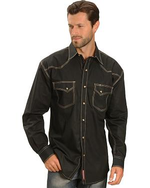 Red Ranch Black Solid Snap Western Shirt