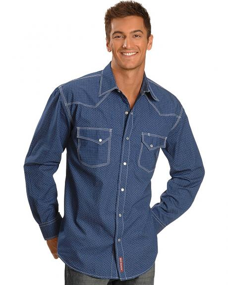 Red Ranch Blue Solid Snap Western Shirt